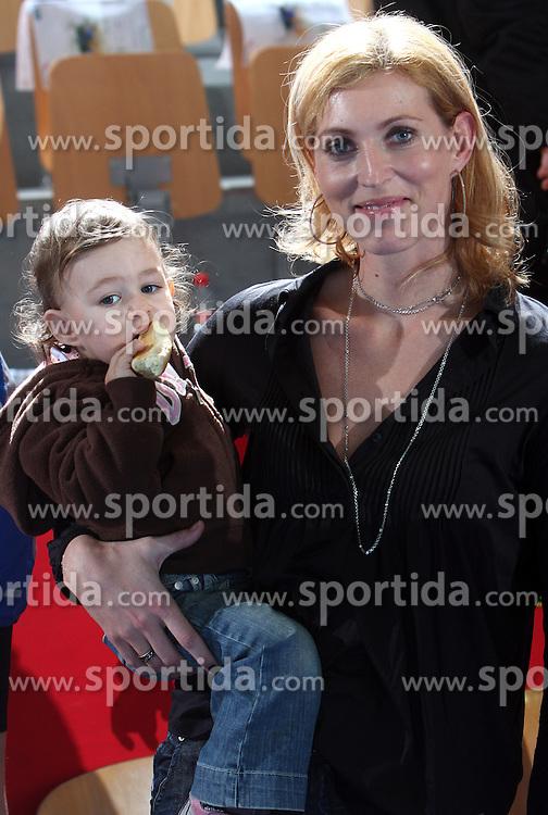 Deja Doler Ivanovic with her daughter at EHF Champions league handball match in Group II between RK Krim Mercator and Gyori Audi Eto KC, on February 7, 2009, in Kodeljevo, Ljubljana, Slovenia. Gyori won 35:31. (Photo by Vid Ponikvar / Sportida)