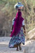Woman carrying on their heads in Rajasthan, India.