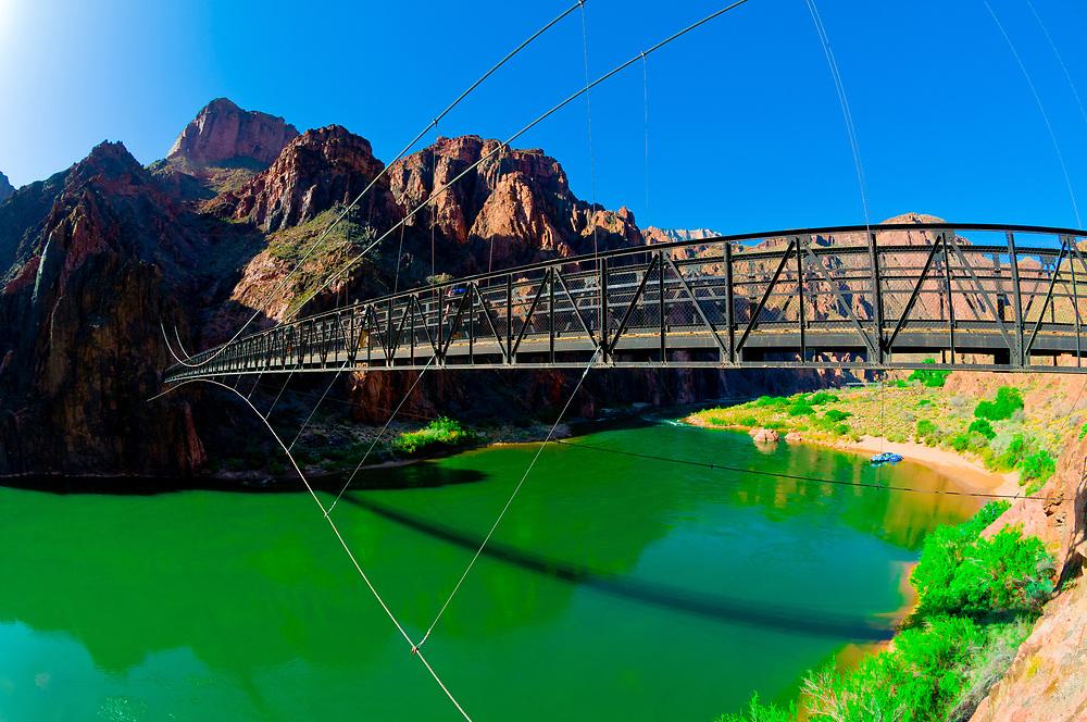 Kaibab Suspension Bridge, Whitewater rafting trip (oar trip) on the Colorado River in Grand Canyon, Grand Canyon National Park, Arizona USA