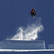 Rose Battersby, New Zealand, in action in the Slopestyle Finals during The North Face Freeski Open at Snow Park, Wanaka, New Zealand, 2nd September 2011. Photo Tim Clayton..
