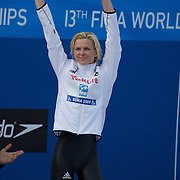 Britta Steffen of Germany on the podium after winning the Women's 50m Freestyle at the World Swimming Championships in Rome, Italy on Sunday, August 2, 2009. Photo Tim Clayton.