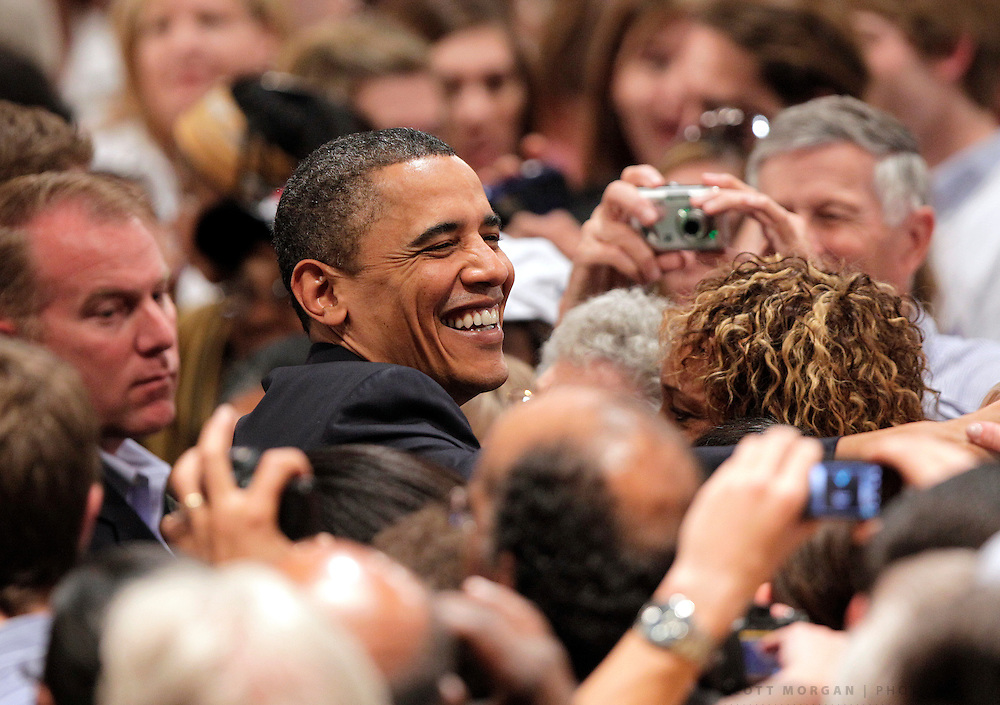 SCOTT MORGAN   ROCKFORD REGISTER STAR.President Barack Obama shakes hands with audience members after speaking Wednesday, April 28, 2010, during the White House to Main Street tour stop at the Oakley-Lindsay Center in Quincy, Ill.