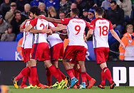 Nacer Chadli of West Bromwich Albion celebrates with his teammates after he scores his teams 1st goal  to make it 0-1 .Premier league match, Leicester City v West Bromwich Albion at the King Power Stadium in Leicester, Leicestershire on Monday 16th October 2017.<br /> pic by Bradley Collyer, Andrew Orchard sports photography.
