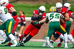 NORMAL, IL - October 05: James Robinson exploits a hole in the scrimmage line during a college football game between the ISU (Illinois State University) Redbirds and the North Dakota State Bison on October 05 2019 at Hancock Stadium in Normal, IL. (Photo by Alan Look)
