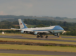 Pictured: Air Force One touches down at Prestwick.<br /> <br /> President of the United States of America Donald Trump touched down at Prestwick Airport in Scotland at the start of a three day break at his golf resort at Turnberry. The President, accompanied by First Lady Melania Trump, was greeted on his first visit to Scotland as US President by Scottish Secretary David Mundell.<br /> <br /> © Dave Johnston / EEm