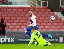 Josef Bursik of Stoke City saves at the feet of Adam Armstrong of Blackburn Rovers - Mandatory by-line: Nick Browning/JMP - 19/12/2020 - FOOTBALL - Bet365 Stadium - Stoke-on-Trent, England - Stoke City v Blackburn Rovers - Sky Bet Championship