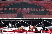 Sao Paulo_MG, Brasil...Marta Suplicy e Joao Paulo Cunha na comemoracao do dia do trabalhador na avenida Paulista, organizada pela CUT (Central Unica dos Trabalhadores)...Marta Suplicy and Joao Paulo Cunha in the celebration of Labor Day on Paulista avenue, organized by the CUT (Central Unica dos Trabalhadores)...Foto: LEO DRUMOND / NITRO