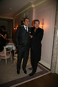 DAVID WALLIAMS AND MARIO TESTINO, Dinner hosted by Elizabeth Saltzman for Donatella Versace. Claridge's Hotel, Brook Street, Mayfair, London. 11 March 2008.  *** Local Caption *** -DO NOT ARCHIVE-© Copyright Photograph by Dafydd Jones. 248 Clapham Rd. London SW9 0PZ. Tel 0207 820 0771. www.dafjones.com.
