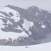 Last Zodiak picks up guests from Half Moon island, Antarctica.