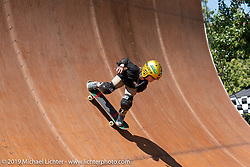 5-year old skateboarder Wyatt Hammond at the Vans Off the Wall sponsored half pipe skate and bicycle demos at the 5-year old skateboarder Wyatt Hammond at the Born-Free Vintage Motorcycle show at Oak Canyon Ranch, Silverado, CA, USA. Sunday, June 23, 2019. Photography ©2019 Michael Lichter.
