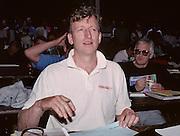 Lucerne, SWITZERLAND.  Independent Correspondent, Hugh MATHERSON, media centre. 1992 FISA World Cup Regatta, Lucerne. Lake Rotsee.  [Mandatory Credit: Peter Spurrier: Intersport Images] 1992 Lucerne International Regatta and World Cup, Switzerland