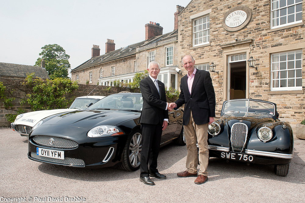 Hatfields Jaguar Ride and Drive event at the Cavendish Hotel Baslow Derbyshire Andrew Jeffery and Former Blue Peter presenter Simon Groom.with Left to right E Type, Modern XK and an original XK.5th May 2011.Images © Paul David Drabble