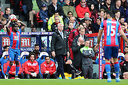 Alan Pardew, the Crystal Palace manager looks on from the touchline. Barclays Premier League match, Crystal Palace v Norwich city at Selhurst Park in London on Saturday 9th April 2016. pic by John Patrick Fletcher, Andrew Orchard sports photography.