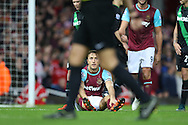 Mark Noble of West Ham United looks dejected as he is not awarded a penalty after being held down by Ryan Shawcross, the Stoke City captain in the penalty area. Barclays Premier league match, West Ham Utd v Stoke city at the Boleyn Ground, Upton Park  in London on Saturday 12th December 2015.<br /> pic by John Patrick Fletcher, Andrew Orchard sports photography.