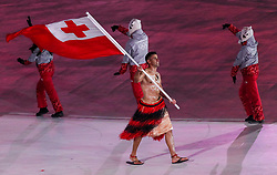 PYEONGCHANG-GUN, SOUTH KOREA - FEBRUARY 09: Flag bearer Pita Taufatofua of Tonga leads the team during the Opening Ceremony of the PyeongChang 2018 Winter Olympic Games at PyeongChang Olympic Stadium on February 9, 2018 in Pyeongchang-gun, South Korea. Photo by Kim Jong-man / Sportida