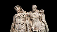 Close up of Roman Sebasteion relief  sculpture of Nero being crowned emperor by Agrippina, Aphrodisias Museum, Aphrodisias, Turkey.   Against a black background.<br /> <br /> Agrippina crowns her young son Nero with a laurel wreath. She carries a cornucopia, a symbol of Fortune and Plenty, and he wears the armour and cloak of a Roman commander, with a helmet on the ground near his feet. The scene refers to Nero's accession as emperor in AD 54, and belongs before AD 59 when Nero had Agrippina murdered. .<br /> <br /> If you prefer to buy from our ALAMY STOCK LIBRARY page at https://www.alamy.com/portfolio/paul-williams-funkystock/greco-roman-sculptures.html . Type -    Aphrodisias     - into LOWER SEARCH WITHIN GALLERY box - Refine search by adding a subject, place, background colour, museum etc.<br /> <br /> Visit our ROMAN WORLD PHOTO COLLECTIONS for more photos to download or buy as wall art prints https://funkystock.photoshelter.com/gallery-collection/The-Romans-Art-Artefacts-Antiquities-Historic-Sites-Pictures-Images/C0000r2uLJJo9_s0