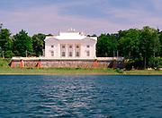 A view of the Uzutrakis Palace from Lake Galve, near Trakai, Lithuania
