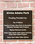 A placard shows the funding information during the Alviso Adobe Park opening ceremony at Alviso Adobe Park in Milpitas, California, on March 16, 2013. (Stan Olszewski/SOSKIphoto)
