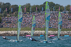 03.08.2012, Bucht von Weymouth, GBR, Olympia 2012, Segeln, im Bild ANGILELLA GIUSEPPE, Sibello Gianfranco, (ITA, 49er) // during Sailing, at the 2012 Summer Olympics at Bay of Weymouth, United Kingdom on 2012/08/03. EXPA Pictures © 2012, PhotoCredit: EXPA/ Daniel Forster ***** ATTENTION for AUT, CRO, GER, FIN, NOR, NED, POL, SLO and SWE ONLY!
