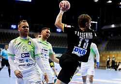 Timo Kastening of Germany during handball match between National Teams of Germany and Slovenia at Day 2 of IHF Men's Tokyo Olympic  Qualification tournament, on March 13, 2021 in Max-Schmeling-Halle, Berlin, Germany. Photo by Vid Ponikvar / Sportida