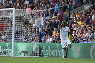 Jordan Ayew of Swansea city celebrates after he scores his teams 2nd goal. <br /> Premier League match, Crystal Palace v Swansea city at Selhurst Park in London on Saturday 26th August 2017.<br /> pic by Kieran Clarke, Andrew Orchard sports photography.