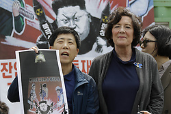 May 5, 2018 - Paju, South Korea - North Korean defector PARK SANG HAK and his supporter Suzan Scholte held press conference about 'Opposite South Korea unification policy' at near Odusan OP in Paju, South Korea. (Credit Image: © Ryu Seung-Il via ZUMA Wire)