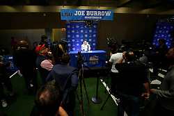 Joe Burrow #9 of the LSU Tigers speaks with the media at Media Day on Thursday, Dec. 26, in Atlanta. LSU will face Oklahoma in the 2019 College Football Playoff Semifinal at the Chick-fil-A Peach Bowl. (Jason Parkhurst via Abell Images for the Chick-fil-A Peach Bowl)