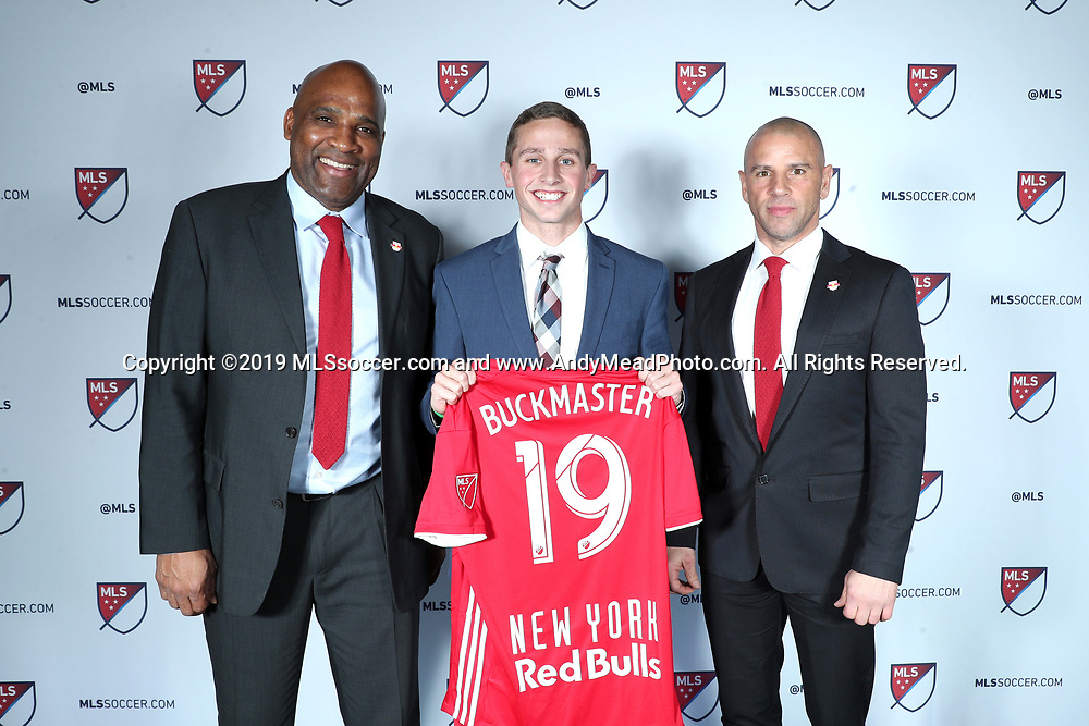 CHICAGO, IL - JANUARY 11: Rece Buckmaster was taken with the 32nd overall pick by the New York Red Bulls. With sporting director Denis Hamlett (left) and head coach Chris Armas (right). The MLS SuperDraft 2019 presented by adidas was held on January 11, 2019 at McCormick Place in Chicago, IL.