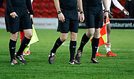 Officials wearing rainbow laces part of the Rainbow Laces campaign to promote LGBT inclusivity in football, during the EFL Sky Bet League 1 match between Fleetwood Town and Blackpool at the Highbury Stadium, Fleetwood, England on 25 November 2017. Photo by Paul Thompson.