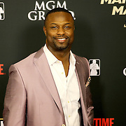 NFL player Bart Scott is seen on the red carpet prior to the Mayweather versus Maidana boxing match at the MGM Grand hotel on Saturday, May 3, 2014 in Las Vegas, Nevada.  (AP Photo/Alex Menendez)