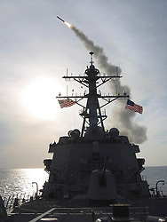 © Licensed to London News Pictures. 29/08/2013. File pic. A Tomahawk cruise missile launches from USS WINSTON S. CHURCHILL (DDG 81) March 23, 2003. CHURCHILL operated in the eastern Mediterranean Sea in support of Operation Iraqi Freedom. The USA and UK are currently considering military action in Syria following reports of chemical weapons being used on civilians. Photo credit U.S. Navy/LNP
