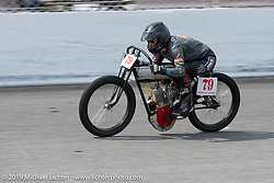 Jody Perewitz riding a 61 inch Harley-Davidson in the Sons of Speed Vintage Motorcycle Races at New Smyrina Speedway. New Smyrna Beach, USA. Saturday, March 9, 2019. Photography ©2019 Michael Lichter.