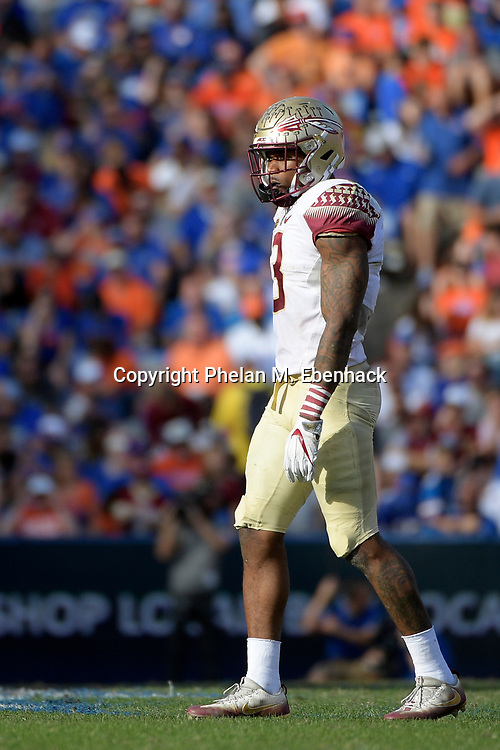 Florida State defensive back Derwin James (3) sets up for a play during the second half of an NCAA college football game against Florida Saturday, Nov. 25, 2017, in Gainesville, Fla. FSU won 38-22. (Photo by Phelan M. Ebenhack)