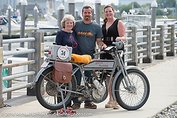 Victor Hugas and family with his Class-1 single-cylinder single-speed 1913 Harley-Davidson before the start of the Motorcycle Cannonball Race of the Century Run. Atlantic City, NJ, USA. September 9, 2016. Photography ©2016 Michael Lichter.