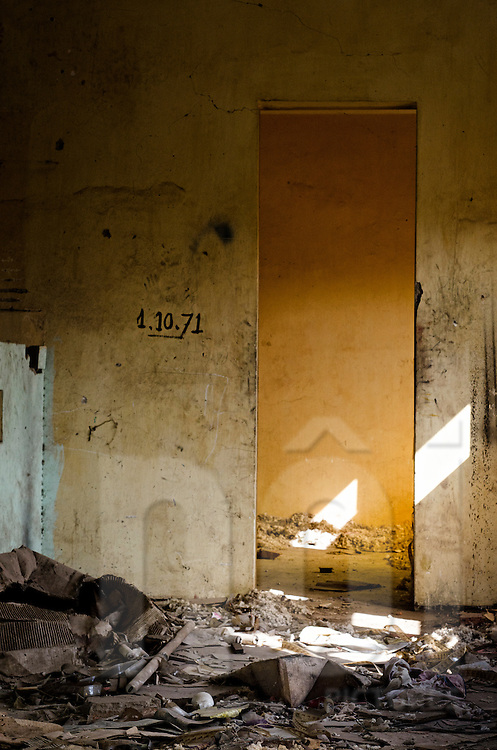 Abandoned Sengchaleun cinema, Savannakhet, Laos, Asia. Interiors are in complete decay and very messy.