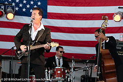 Merle Travis Peterson playing with his Cold Hard Cash band at the Broken Spoke Saloon during Laconia Motorcycle Week. NH. USA. Tuesday June 12, 2018. Photography ©2018 Michael Lichter.