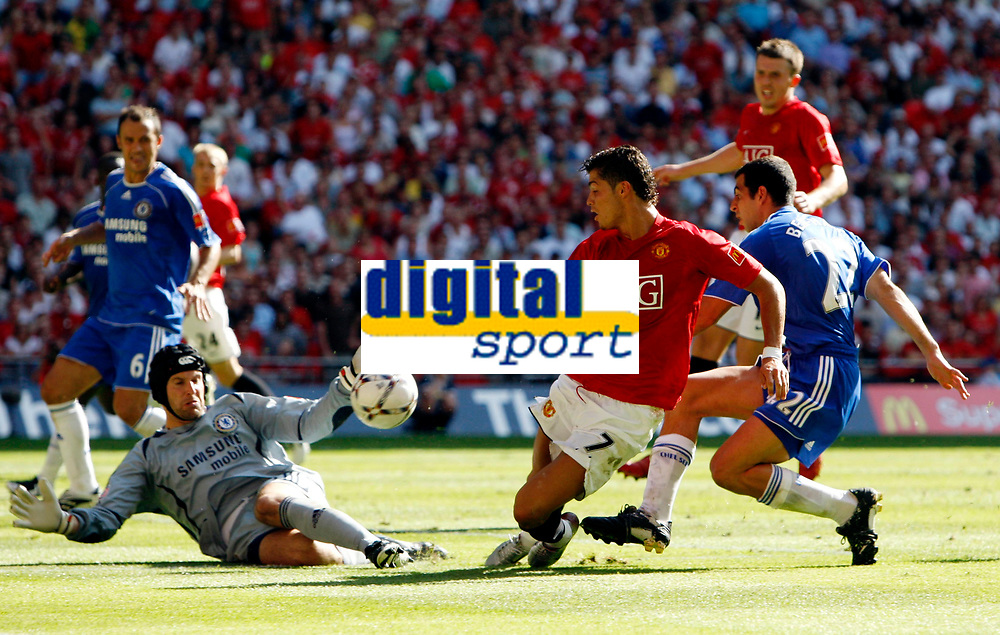 Photo: Richard Lane/Sportsbeat Images.<br />Manchester United v Chelsea. FA Community Shield. 05/08/2007. <br />United'sChristiano Ronaldo has his shot saved by Chelsea's Petr Cech.