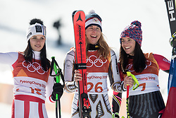 February 17, 2018 - Pyeongchang, South Korea - February 17, 2018 - PyeongChang, South Korea - (L-R) Silver medal winner ANNA VEITH of Austria, gold medal winner ESTER LEDECKA of Czech Republic, and Bronze medal winner TINA WEIRATHER of Liechtenstein during the venue podium ceremony for Alpine Skiing: Ladies' Super-G at Jeongseon Alpine Centre during the 2018 Pyeongchang Winter Olympic Games. (Credit Image: © Daniel A. Anderson via ZUMA Wire)
