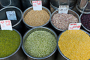 Beans and pulses on sale at Khari Baoli spice and dried foods market, Old Delhi, India