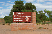 Canyon de Chelly National Monument rustic entrance sign in Chinle Arizona