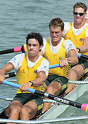 St Catharines, Ontario, CANADA 1999 World Rowing Championships. AUS M4- Bow Ben DODWELL, Bo HANSON, Geoff STEWART, James STEWART [Mandatory Credit Peter Spurrier Intersport Images] 1999 FISA. World Rowing Championships, St Catherines, CANADA
