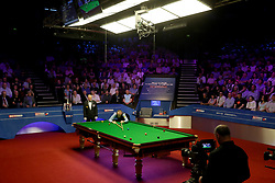 Mark Williams at the table during day seventeen of the 2018 Betfred World Championship at The Crucible, Sheffield.