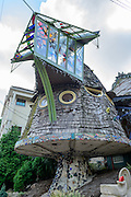 Photo of  the Mushroom House in Hyde Park area of Cincinnati, Ohio, which was designed by Terry Brown, a Professor of Architecture and Interior Design at the University of Cincinnati, and built with help from university students.