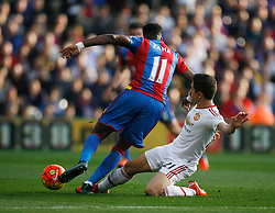 Ander Herrera of Manchester United (R) tackles Wilfried Zaha of Crystal Palace  - Mandatory byline: Jack Phillips/JMP - 07966386802 - 31/10/2015 - SPORT - FOOTBALL - London - Selhurst Park Stadium - Crystal Palace v Manchester United - Barclays Premier League