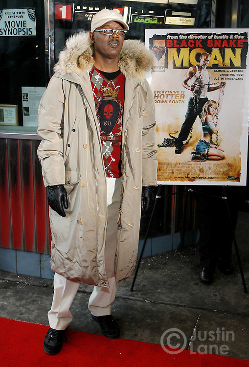Actor Samuel L. Jackson arrives for the premier of the film 'Black Snake Moan' in New York, New York on Monday 19 February 2007.