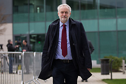 © Licensed to London News Pictures . 12/02/2016 . Warrington , UK . Labour Party leader JEREMY CORBYN outside the Hillsborough Inquest at Birchwood Park in Warrington after attending this morning (12th February 2016) . Photo credit : Joel Goodman/LNP