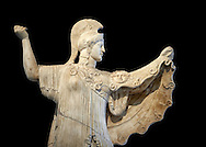 Roman statue of goddes Athena from the tablinum of the Villa of the Papyri in Herculaneum, Museum of Archaeology, Italy, black background ..<br /> <br /> If you prefer to buy from our ALAMY STOCK LIBRARY page at https://www.alamy.com/portfolio/paul-williams-funkystock/greco-roman-sculptures.html . Type -    Naples    - into LOWER SEARCH WITHIN GALLERY box - Refine search by adding a subject, place, background colour, etc.<br /> <br /> Visit our ROMAN WORLD PHOTO COLLECTIONS for more photos to download or buy as wall art prints https://funkystock.photoshelter.com/gallery-collection/The-Romans-Art-Artefacts-Antiquities-Historic-Sites-Pictures-Images/C0000r2uLJJo9_s0