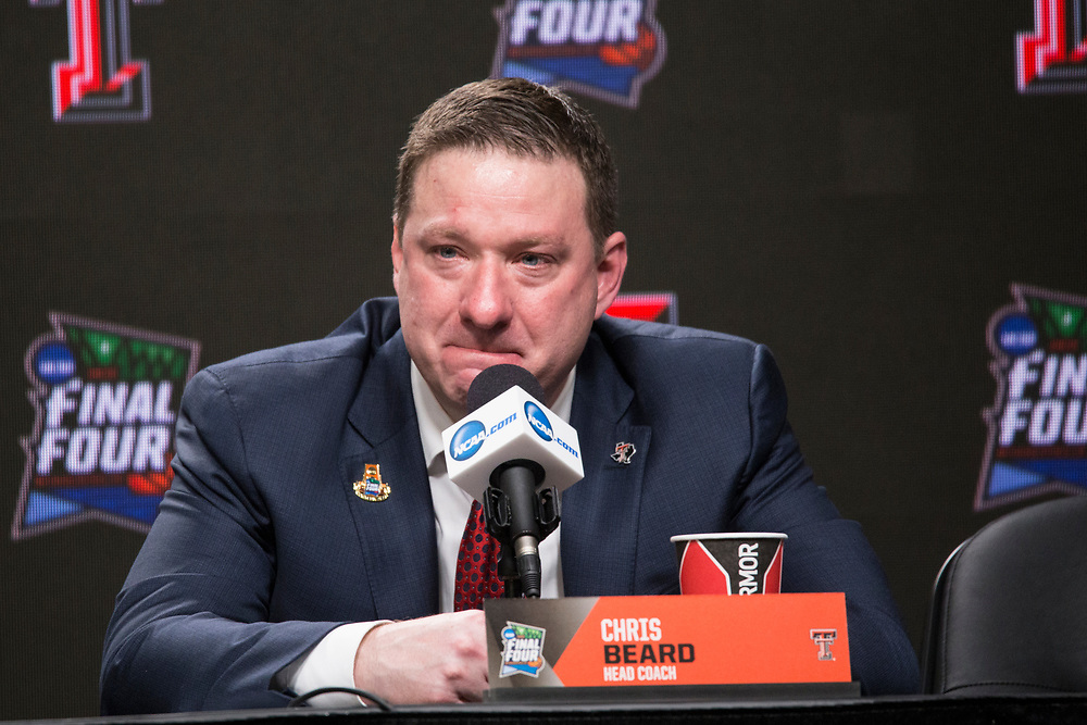 Head Coach Chris Beard moments after Texas Tech's dramatic loss against Virginia during the 2019 Men's Basketball National Championship on April 8, 2019.