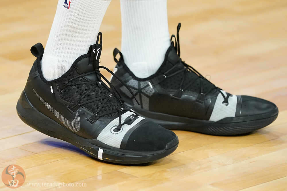 February 27, 2020; San Francisco, California, USA; Detail view of the Nike shoes worn by Golden State Warriors guard Andrew Wiggins (22) before the game against the Los Angeles Lakers at Chase Center.