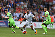 Wayne Routledge of Swansea city © makes a break.  Barclays Premier league match, Swansea city v Manchester city at the Liberty Stadium in Swansea, South Wales on Sunday 15th May 2016.<br /> pic by Andrew Orchard, Andrew Orchard sports photography.